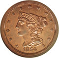 Proof Braided Hair Half Cents: , 1854 1/2 C PR65 Red and Brown NGC. B-2, Low R.6. Light pinkish-orange mint color with traces of blue toning on the obverse....