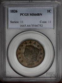 1826 1C MS64 Brown PCGS. N-5, R.2. Although the obverse has a small rim break over star 6, this is an earlier die state...