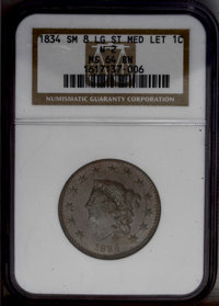 1834 1C Small 8, Large Stars, Medium Letters MS64 Brown NGC. N-2, R.1. Fully lustrous surfaces exhibit splendid medium b...