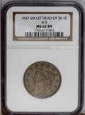 Large Cents: , 1837 1C Plain Cords, Small Letters MS62 Brown NGC. N-5, R.2. Asatiny golden-brown piece with unmarked and nearly spot-free...