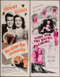"""Movie Posters:Comedy, No Time for Comedy & Other Lot (Dominant Pictures, R-1956). Insert (14"""" X 36""""). Comedy.. ... (Total: 2 Items)"""
