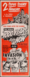 "Movie Posters:Science Fiction, 1000 Years from Now/Invasion USA Combo (American Picture Company,R-1956). Insert (14"" X 36""). Science Fiction.. ..."
