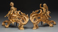 Decorative Arts, French:Other , A PAIR OF NAPOLEON III GILT BRONZE FIGURAL CHENETS, circa 1860. 14x 20-1/2 x 9 inches (35.6 x 52.1 x 22.9 cm). ... (Total: 2 Items)