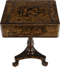 Furniture , A VICTORIAN CHINOISERIE PAPIER MACHE LACQUERED AND GILT GAME TABLE, mid 19th century. 29-1/2 x 24 x 20 inches (74.9 x 61.0 x... (Total: 2 Items)