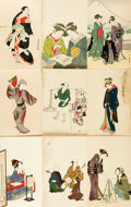 Miscellaneous:Postcards, [Japanese Postcards]. Group of Nine with Hand-Coloring. Tokyo:Shimbi Shoin, circa 1930....