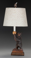 Miscellaneous:Lamps & Lighting, A RUEF BROTHERS OF BRIENZ SWISS BLACK FOREST CARVED WOOD BEAR TABLELAMP, early 20th century. Marks: Ruef (carved into base)...