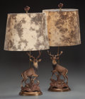 Miscellaneous:Lamps & Lighting, A PAIR OF BLACK FOREST STYLE CARVED WOOD STAG TABLE LAMPS, 20thcentury. 33-1/2 inches high (85.1 cm) (to top of shade). P...(Total: 2 Items)