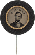 Political:Ferrotypes / Photo Badges (pre-1896), Abraham Lincoln: Ferrotype Stickpin. ...