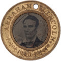 Political:Ferrotypes / Photo Badges (pre-1896), Abraham Lincoln: Back-to-Back Ferrotype Badge. ...