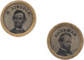 Political:Ferrotypes / Photo Badges (pre-1896), Abraham Lincoln and William Tecumseh Sherman: Mini FerrotypeBadges. ...