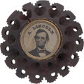 Political:Ferrotypes / Photo Badges (pre-1896), Abraham Lincoln: 1864 Clothing Button....