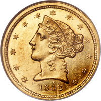 1842-C $5 Small Date MS63 NGC. CAC. Variety 1....(PCGS# 8208)