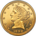 Proof Liberty Half Eagles, 1898 $5 PR64 Deep Cameo PCGS....