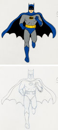 Animation Art:Production Cel, Super-Friends Batman Production Cel and Drawing AnimationArt Group (Hanna-Barbera, 1973).... (Total: 2 Original Art)