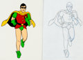 Animation Art:Production Cel, Super-Friends Robin Production Cel and Drawing Animation ArtGroup (Hanna-Barbera, 1973).... (Total: 2 Original Art)