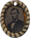 "Political:Ferrotypes / Photo Badges (pre-1896), Abraham Lincoln: 1864 Ferrotype ""Drop"" or Pendant. ..."