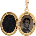 Political:Ferrotypes / Photo Badges (pre-1896), Abraham Lincoln: 1864 Ferrotype Locket. ...