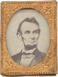 Political:Ferrotypes / Photo Badges (pre-1896), Abraham Lincoln: Gem Albumen Badge. ...