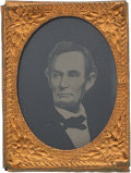 Political:Ferrotypes / Photo Badges (pre-1896), Abraham Lincoln: Gem Ferrotype Badge. ...