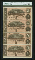 Confederate Notes:1864 Issues, T69 $5-$5-$5-$5 1864 PF-11-11-11-11 Cr. 565-565-565-565 Uncut Vertical Strip of Four.. ...