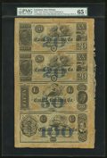 Obsoletes By State:Louisiana, New Orleans, LA- New Orleans Canal & Banking Co. $20-$20-$50-$100 G32a,G32,G44,G56a Uncut Remainder Sheet. ...