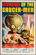 "Movie Posters:Science Fiction, Invasion of the Saucer-Men (American International, 1957). OneSheet (27"" X 41""). Science Fiction.. ..."