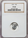 Proof Roosevelt Dimes: , 1951 10C PR68 NGC. NGC Census: (190/8). PCGS Population (37/7).Mintage: 57,500. Numismedia Wsl. Price for problem free NGC...