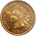 Proof Indian Cents: , 1884 1C PR67 Red PCGS. Orange-red and soft golden colors compete for dominance on both sides of this stunning Superb Gem. T...