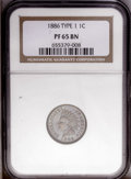 Proof Indian Cents: , 1886 1C Type One PR65 Brown NGC. The last feather points between the IC of AMERICA, confirming the variety. Smooth glossy s...