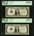 Small Size:Silver Certificates, Fr. 1600/Fr. 1601 $1 1928/1928A Silver Certificate Changeover Pair. PMG Choice New 63PPQ/Very Choice New 64PPQ.. ...