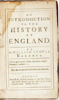 Books:World History, William Temple. An Introduction to the History of England. London: Richard and Ralph Simpson, 1699. Contemporary pan...
