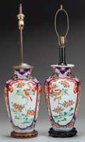 Asian:Japanese, TWO JAPANESE IMARI PORCELAIN VASES MOUNTED AS LAMPS. 36 inches high(91.4 cm) (to top of finial). ... (Total: 2 Items)