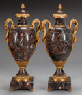 Decorative Arts, French:Other , A PAIR OF LOUIS XVI-STYLE VARIEGATED MARBLE URNS WITH GILT BRONZEMOUNTS, 20th century. 28 inches high (71.1 cm). ...