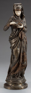 Paintings, AN ALBERT-ERNEST CARRIER-BELLEUSE SILVERED BRONZE AND IVORY FIGURE: LA LISEUSE, circa 1900. Marks: A. CARRIER-...