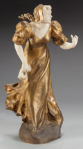 Decorative Arts, Continental:Other , AN ART NOUVEAU GILT BRONZE AND MARBLE AFTER AFFORTUNATO GORY:WAITING, circa 1900. Marks: A. Gory. 27-1/2 inches...