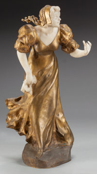 AN ART NOUVEAU GILT BRONZE AND MARBLE AFTER AFFORTUNATO GORY: WAITING, circa 1900 Marks:
