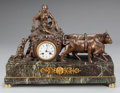 Decorative Arts, French:Other , AN EMPIRE-STYLE MARBLE, GILT AND PATINATED BRONZE MANTLE CLOCK,circa 1900. Marks to clock face: CHARLES A TOUCY. 16-1/2...