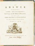 Books:World History, Walpole, Horatio. An Answer To the latter Part of LordBolingbroke's Letters on the Study of History...In a Series ofLe...