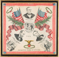Political:Textile Display (1896-present), Abraham Lincoln: Colorful Commemorative Silk Hankie. ...