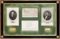 Political:Small Paper (pre-1896), Abraham Lincoln and Stephen A. Douglas: Election Bet Autograph Display. ...