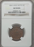 Two Cent Pieces: , 1864 2C Large Motto AU58 NGC. NGC Census: (129/1454). PCGS Population (190/955). Mintage: 19,847,500. Numismedia Wsl. Price...
