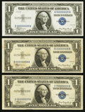 Small Size:Silver Certificates, Three Note Experimental Set Fr. 1607 $1 1935 Silver Certificates Matching Serial Number 00000009. . ... (Total: 3 notes)
