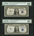 Small Size:Silver Certificates, Fr. 1609/1610 $1 1935A R and S Silver Certificates. PMG Graded.. ... (Total: 2 notes)