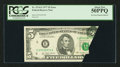 Error Notes:Foldovers, Fr. 1974-E $5 1977 Federal Reserve Note. PCGS About New 50PPQ.. ...