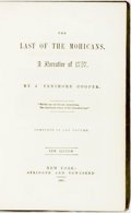 Books:Literature Pre-1900, James Fenimore Cooper. The Last of the Mohicans. A Narrative of1757. New edition. New York: Stringer and Townsend, ...