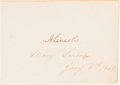 Autographs:U.S. Presidents, Abraham and Mary Todd Lincoln: Dual Signatures on the Same Sheet....