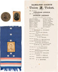 Political:Ferrotypes / Photo Badges (pre-1896), Abraham Lincoln and Ulysses S. Grant: Assorted Campaign Items. ...