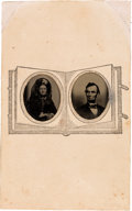 Photography:Tintypes, Abraham and Mary Todd Lincoln: Tintypes on Paper Mount. ...