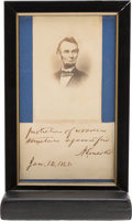 Autographs:U.S. Presidents, Abraham Lincoln: Autographed Note Signed. ...