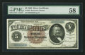 Large Size:Silver Certificates, Fr. 263 $5 1886 Silver Certificate PMG Choice About Unc 58.. ...